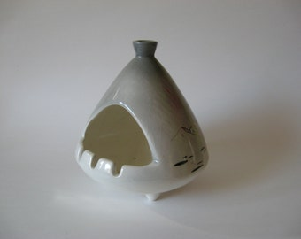 Super mod ceramic walrus, yes walrus, vintage ashtray teardrop vented top signed Sascha 60s 70s