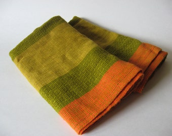 Dynamite set of 2 small vintage sheer net curtains danish modern open weave mod stripe orange green gold