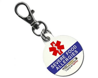SEVERE FOOD ALLERGIES I Carry an EpiPen Medical Alert Aluminum Dog Tag (Choose Size)