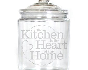 Engraved Glass Canister available in 1/2 Gallon, Gallon & 2 Gallon sizes etched jar w/ design 2379 The Kitchen is the heart of the home