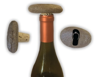 Engraved Symbol Wine Stopper on Natural Stone  - 6862 Flip Flop