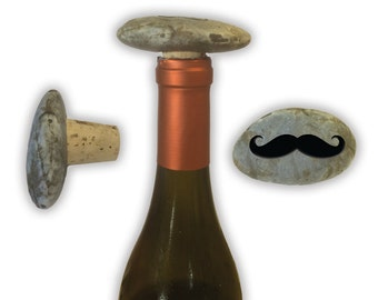 Engraved Symbol Wine Stopper on Natural Stone  - 6947 Mustache