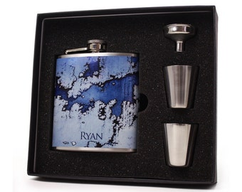 Flask // Personalized White Frosted Glass Flask Design FHD26