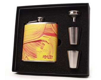 Custom Liquor Flask Gift Set // 6oz flask