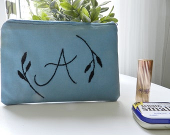 Initial Monogram Zipper Pouch. Back to School Supplies. Mom Organization. Cosmetic bag. Gift for teen girl. Bridesmaid accessories.