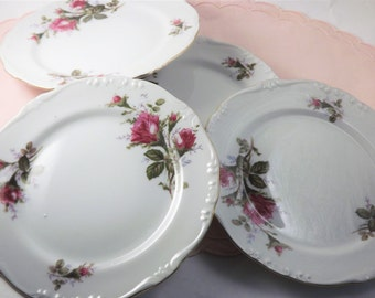 Red Rose Plates, Vintage Dessert Plates, Floral Red Roses and Gold Trim, Set of 4 Rose Bud Plates, Bread and Butter, Salad