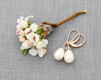Rose Gold Drop Earrings, Pearl Jewelry, Petite Pearl & Crystal Wedding Earrings, Dainty Rose Gold Earrings