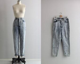 80s Plus Size Vintage Jeans . Acid Wash Denim Jeans . Pegged Leg Jeans