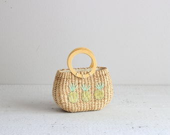 Island Style Rattan Purse . Retro Wood Handle Purse . Woven Summer Bag
