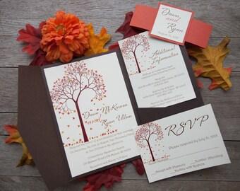 Pocketfold Wedding Invitation, Fall Wedding Invitation, Tree Wedding Invitation, Modern Wedding Invitaton, Custom Wedding Invitation