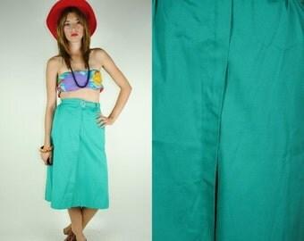 ON SALE 50% Ladies 70s Vintage HIGH Waisted Mint Green Belted Skirt (Medium)