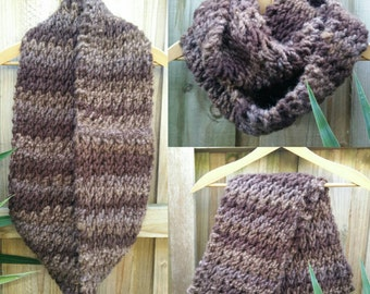 Infinity scarf cowl chunky hand knit double loop brown wool blend