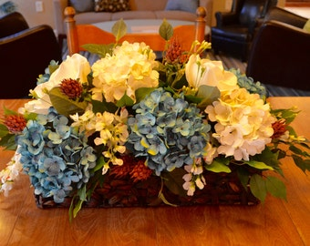 Blue and Cream Flower Arraignment with Hydrangeas