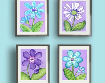 girl nursery wall, lavender daisy art, garden daisy bedding art, lavender wall art decor