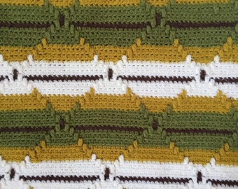 vintage green striped afghan throw blanket / twin size