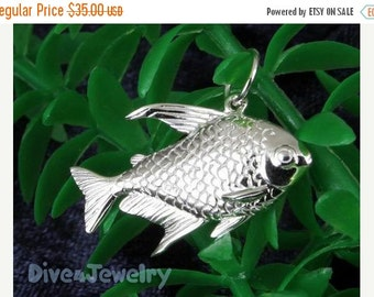SALE Sterling Silver 3D Fish Pendant Necklace