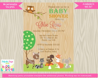Woodland Baby Shower Invitation Invite Woodland Baby Sprinkle Gender Neutral Woodland birthday invitation  -  Printable DIY