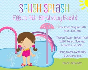 Splash Party Invitation invite splash pad birthday invitation splish splash birthday invitation invite photo CHOOSE YOUR GIRL