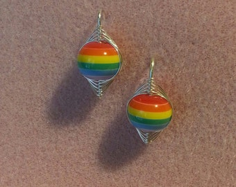 Handcrafted Herringbone Jewelry/Rainbow Earrings/Rainbow Pride Earrings