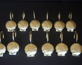 Sea Shell Scalloped Shell Set of Twelve 12 Gold Brass Tone Shower Bathroom Hooks