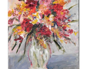 Original acrylic floral painting Colorful Spring Bouquet 10x8 inches