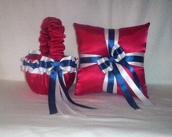 Red  White  And  Navy  Blue  Ribbon Trim Flower Girl Basket And Ring Bearer Pillow