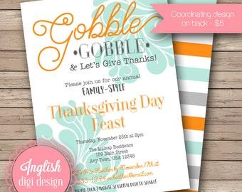 Printable Thanksgiving Dinner Invitation, Friendsgiving Dinner Invitation, Thanksgiving Dinner Invite - Gobble Gobble in Gray, Orange, Blue