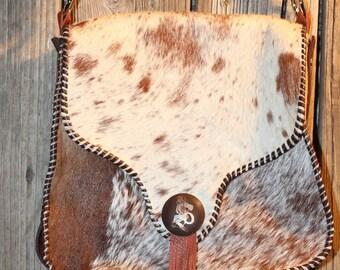 Crossbody Cowhide Purse Vintage Cowgirl Concho