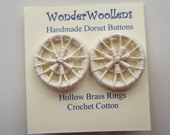 Dorset Buttons, Handmade Buttons, Brass Ring & Cotton Buttons, Two Cream Dorset Buttons, Ecru Dorset Buttons, Lacy Buttons