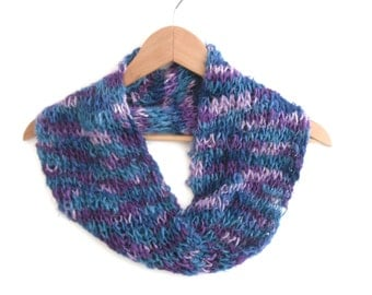 Banana Silk cowl , hand knit silk neck scarf , summer accessory, blue knit cowl , scarves uk , 100% rayon , soft knit ,