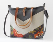 LARGE, Gray blossom chevron tote / diaper bag / shoulder bag with detachable strap  Design by BagyBags