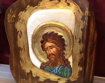 Hand Painted Saint John the Baptist Icon on Marble 25x32cm Approx