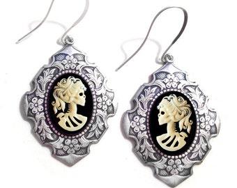 Skeleton Lady Cameo Renaissance Earrings Silver
