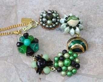 Bridesmaid Gift, Vintage Earring Bracelet, Upcycled, Green, Gold, Emerald, Enamel, Jennifer Jones, Under 40, Cluster, OOAK - Herb Garden