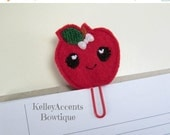 ON SALE Felt Paper Clip Bookmark -  Apple Bookmark - Planner Accessories