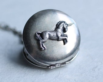 Unicorn Locket ... Silver Vintage Pegasus Horse Pendant Necklace