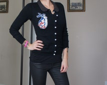 Olivia Paige - Black Anchor Navy Sailor mermaid   Pin up cardigan collar studded sweather with anchor buttons