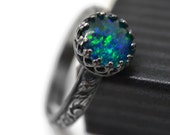 Australian Opal Triplet Ring, Oxidized Silver Floral Ring, Blue Green Gemstone Ring, Opal Jewelry