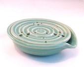 Soap Dish with Drain Tray - One Piece Soap Saver for Kitchen or Bath - Handmade Pottery - Seafoam Green