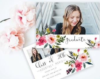 5x7 PRINTABLE Senior Announcement Floral Design  Customizable