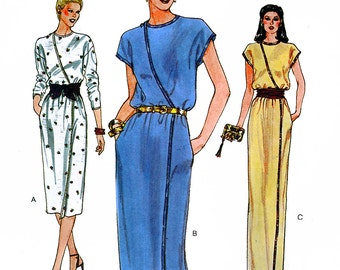 Vogue 7581 Vintage 80s Sewing Pattern for Misses' Dress - Uncut - Size 14 - Bust 36
