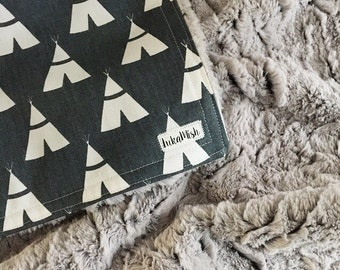 PRE ORDER - Tee Pee Deluxe minky Snuggle Blanket - Grey - pram size minky baby blanket - Perfect Baby Shower Gift!