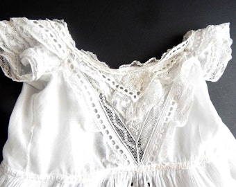 Antique Handmade Christening Gown with Exceptional Embroidery and Inset Lace