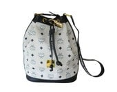 Authentic MCM Michael Cromer Munchen Germany White & Navy Drawstring Shoulder Bag