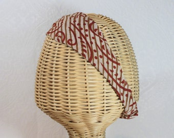Block print cotton headband in cream and rust