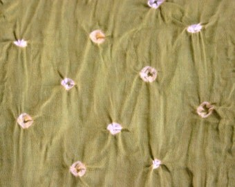 Dirty Green/Olive green - Bandhani (Indian Tie-Dyed) cotton Fabric  (1.5 yard)