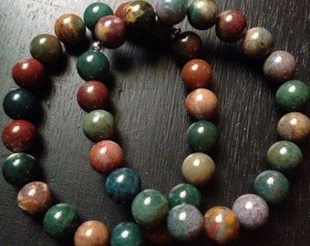 Bloodstone 10mm Bead Stretch Bracelet with Sterling Silver Accent