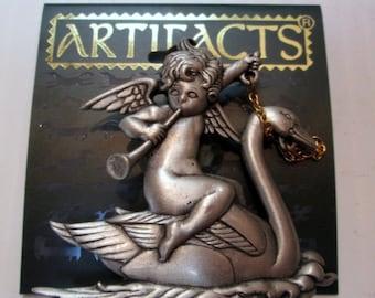 Vintage Jonette Jewelry JJ pin, brooch,  JJ Jonette cherub swan pin,  unique gift under 20,  made in USA, new old stock
