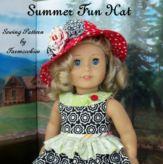 "PDF Sewing Pattern - Summer Fun HAT / Sewing Pattern for American Girl®  or Other 18"" Dolls"