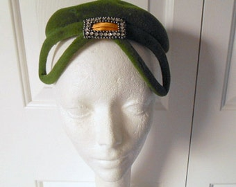 Vintage deco style Olive green embellished Hat
